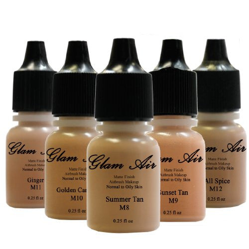 Glam Air Airbrush Water-based Foundation in Set of 5 Assorted Tan Matte Shades (For Normal to Oily Tan Skin) - Sexy Sparkles Fashion Jewelry - 1