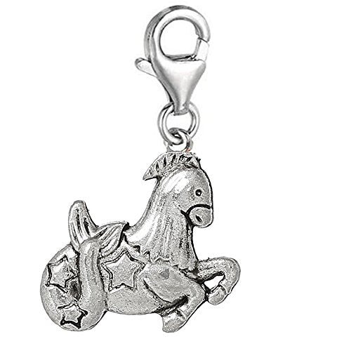 Zodiac Signs Clip On For Bracelet Charm Pendant for European Charm Jewelry w/ Lobster Clasp (Aries)