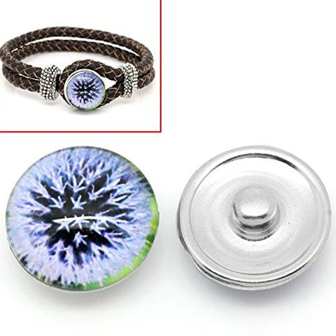 Dandelion Design Glass Chunk Charm Button Fits Chunk Bracelet - Sexy Sparkles Fashion Jewelry - 1