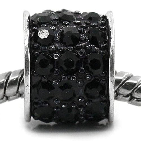 Black Sparkly Charm w/ Rhinestones for Snake Chain Charm Bracelets - Sexy Sparkles Fashion Jewelry - 1