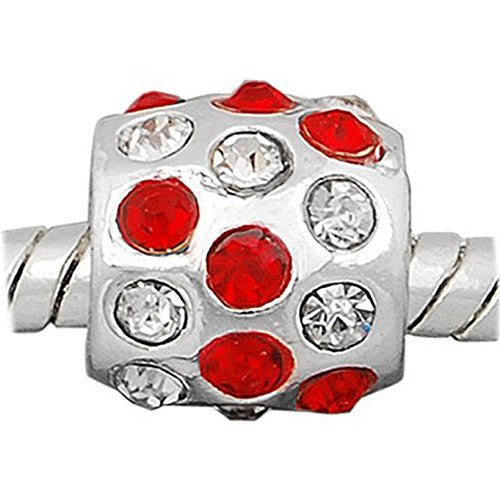 Red W/clear  Rhinestones Charm European Bead Compatible for Most European Snake Chain Bracelet