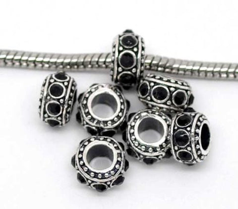 Black Crystals Spacer Bead Charm for Snake Chain Bracelet - Sexy Sparkles Fashion Jewelry - 2