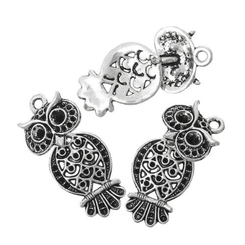 Antique Silver Plated Owl Charm Pendant for Necklace - Sexy Sparkles Fashion Jewelry - 3
