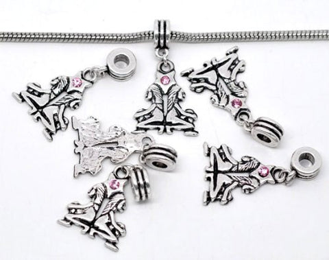 Gemini Zodiac Charm W/pink Crystal Dangle Bead for Snake Bracelets - Sexy Sparkles Fashion Jewelry - 2