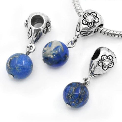 Royal Blue Dangle Ball with Rhinestones Bead Charm Spacer for Snake Chain Charm Bracelets - Sexy Sparkles Fashion Jewelry - 3