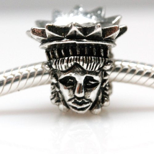 Lady Liberty Charm European Bead Compatible for Most European Snake Chain Bracelets