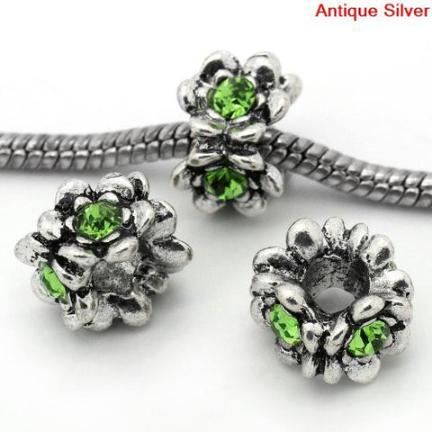 Flower With Green Birthstone European Bead Compatible for Most European Snake Chain Bracelet - Sexy Sparkles Fashion Jewelry - 2