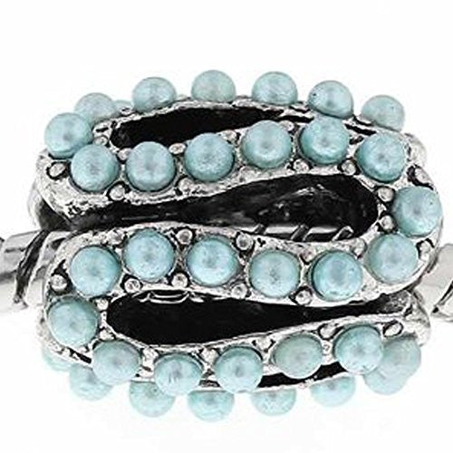 S Pattern Charm Bead with Light Blue Acrylic Balls For Snake Chain Bracelet