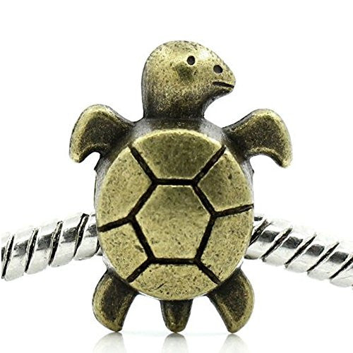 Sea Turtle Charm Spacer For Snake Chain Charm Bracelet