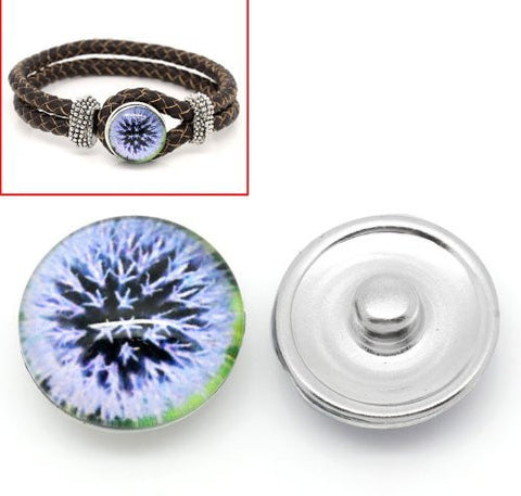 Dandelion Design Glass Chunk Charm Button Fits Chunk Bracelet - Sexy Sparkles Fashion Jewelry - 4