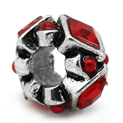 Red Acrylic Rhinestones Bead Charm Spacer For Snake Chain Charm Bracelet