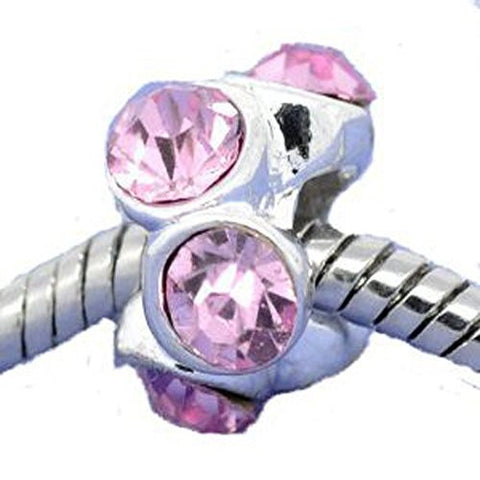 Silver Plated Pink Rhinestone Spacer Beads Fit European Bracelet - Sexy Sparkles Fashion Jewelry - 1