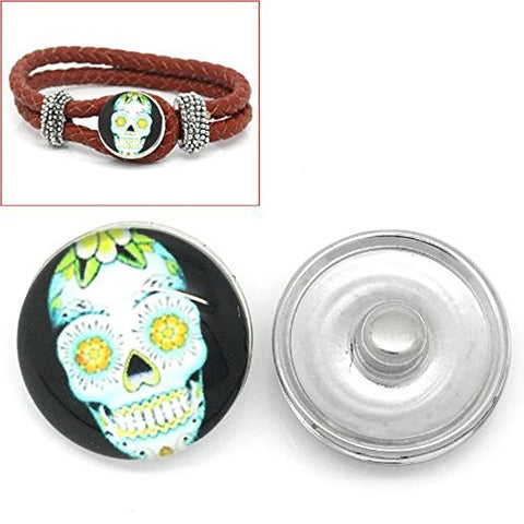 Skull Design Glass Chunk Charm Button Fits Chunk Bracelet 18mm for Noosa Style Chunk Leather Bracelet - Sexy Sparkles Fashion Jewelry - 1