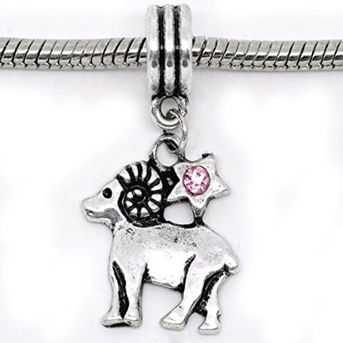 Aries Zodiac Charm W/pink Crystal Dangle Bead for Snake Bracelets
