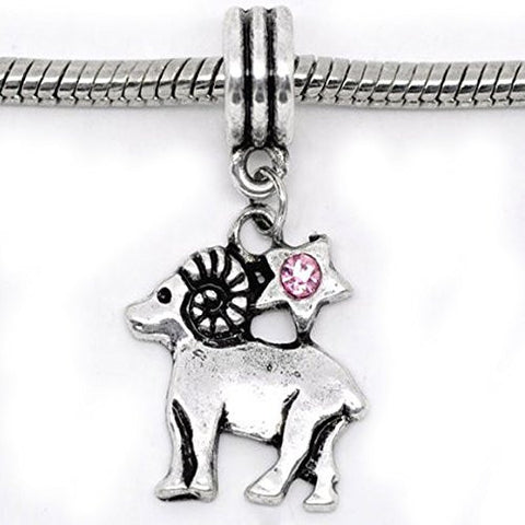 Aries Zodiac Charm W/pink Crystal Dangle Bead for Snake Bracelets - Sexy Sparkles Fashion Jewelry - 1