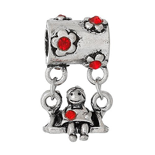 Little Girl on Swing w/ Red Crystals European European Bead Compatible for Most European Snake Chain Charm Bracelets