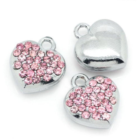Pink Rhinestone Heart Dangle European Bead Compatible for Most European Snake Chain Bracelets - Sexy Sparkles Fashion Jewelry - 3