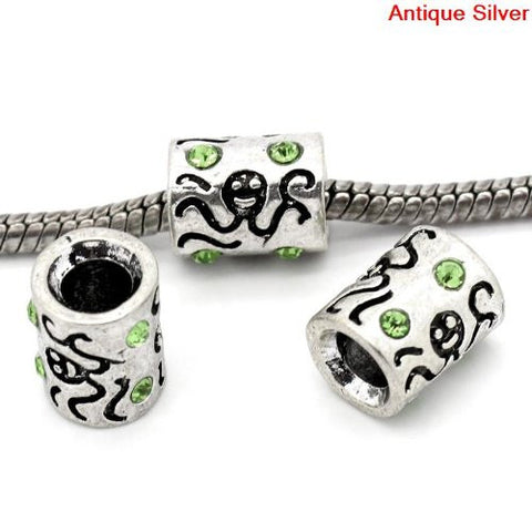 Octopus Carved on Charm W/Green crystals Bead Charm Spacer For Snake Chain Bracelet - Sexy Sparkles Fashion Jewelry - 2
