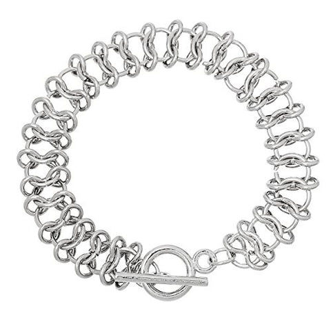 "Iron Alloy Link Chain Toggle Clasp Bracelets Silver Tone 19.5cm(7 5/8"") - Sexy Sparkles Fashion Jewelry - 1"