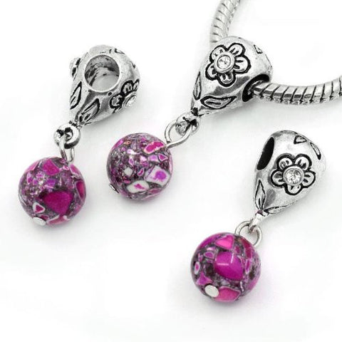 Fuchsia Dangle Ball with Rhinestones Bead Charm Spacer for Snake Chain Charm Bracelets - Sexy Sparkles Fashion Jewelry - 3