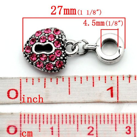 Hot Pink Crystals Heart Lock Dangle Charm Bead For Snake Chain Bracelets - Sexy Sparkles Fashion Jewelry - 3