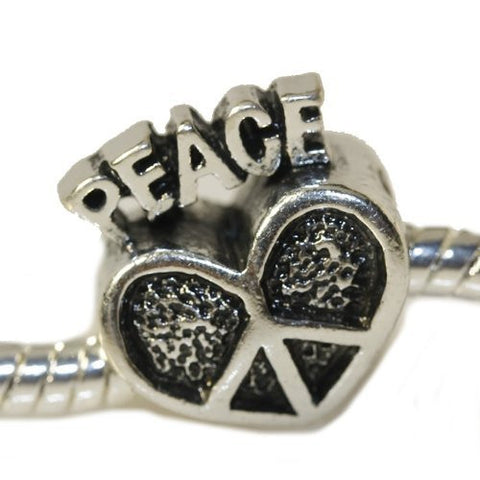 Peace Heart European Bead Compatible for Most European Snake Chain Charm Bracelet - Sexy Sparkles Fashion Jewelry - 3