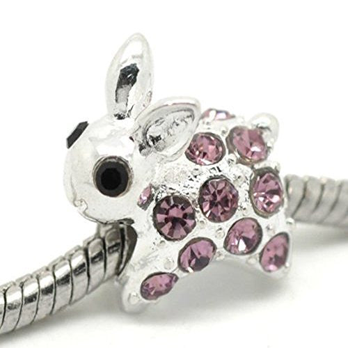 Rabbit with Rhinestones Charm for European Snake Chain Charm Bracelet