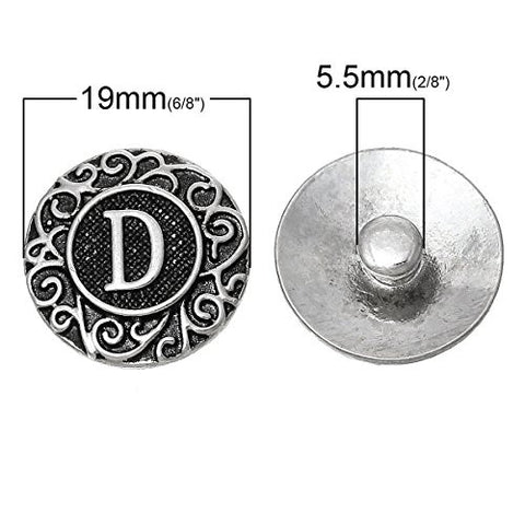Alphabet Letter D Chunk Snap Button or Pendant Fits Snaps Chunk Bracelet - Sexy Sparkles Fashion Jewelry - 3