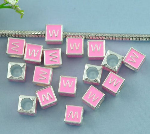 """W"" Letter Square Charm Beads Pink Enamel European Bead Compatible for Most European Snake Chain Charm Bracelets - Sexy Sparkles Fashion Jewelry - 2"