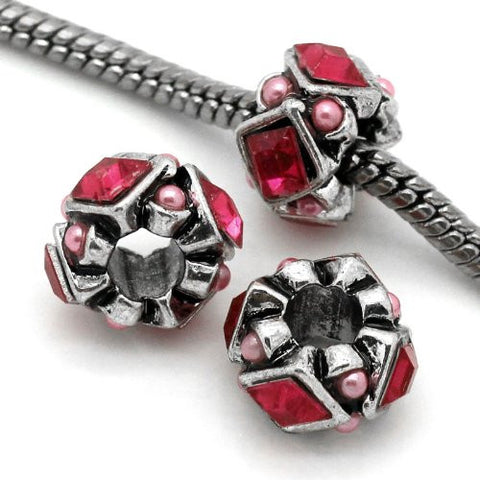 Red Acrylic Rhinestones Bead Charm Spacer For Snake Chain Charm Bracelet - Sexy Sparkles Fashion Jewelry - 2