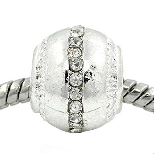 Ball with Clear  Rhinestone European Bead Compatible for Most European Snake Chain Bracelet
