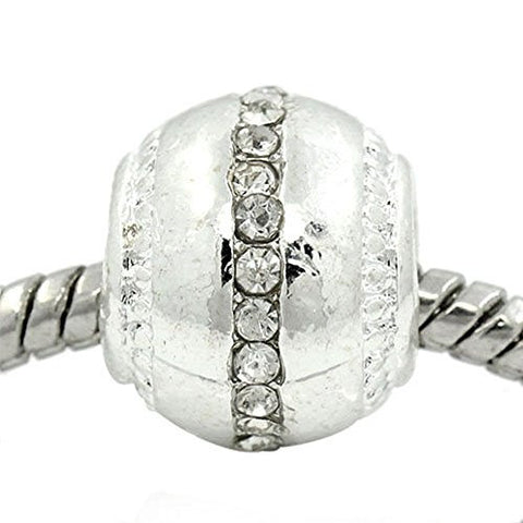 Ball with Clear  Rhinestone European Bead Compatible for Most European Snake Chain Bracelet - Sexy Sparkles Fashion Jewelry - 1