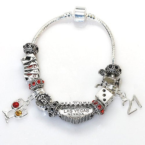 "7.5"" Viva Las Vegas Theme Charm with 12 Charms, Pocker Cards,Casino Chips,Dice,Martini Glass & Crystals charm beads, For Snake Chain Bracelets - Sexy Sparkles Fashion Jewelry - 2"