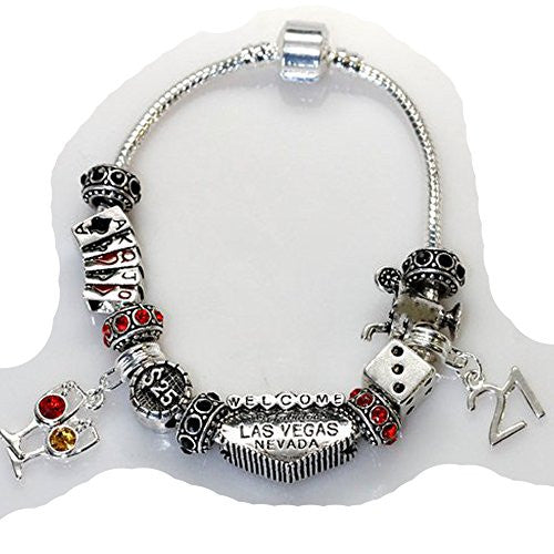 "6.5"" Viva Las Vegas Theme Charm with 12 Charms, Pocker Cards,Casino Chips,Dice,Martini Glass & Crystals charm beads, For Snake Chain Bracelets - Sexy Sparkles Fashion Jewelry - 1"