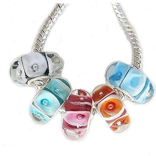 5 Murano Beads with for snake Chain charm Bracelet - Sexy Sparkles Fashion Jewelry