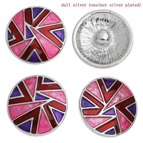 Chunk Snap Buttons Fit Chunk Bracelet Round Silver Tone Pattern Carved Enamel Red & Purple & Fuchsia 20mm - Sexy Sparkles Fashion Jewelry - 4