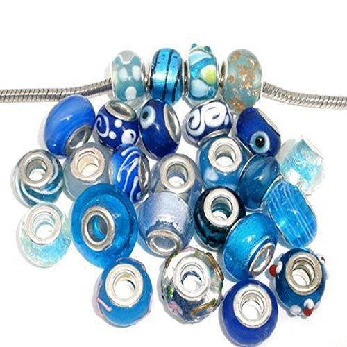 Ten (10) Pack of Assorted Blue Glass Lampwork, Murano Glass Beads for European Style Bracelet