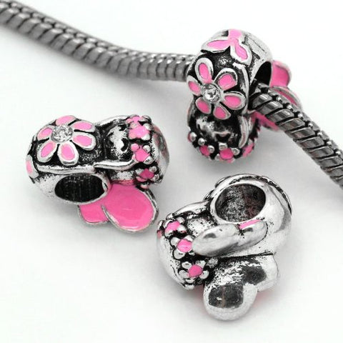Pink Flower Fairy Charm European Bead Compatible for Most European Snake Chain Bracelet - Sexy Sparkles Fashion Jewelry - 2