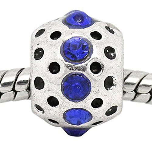 Royal Blue Rhinestone  Birthstone Charm European Bead Compatible for Most European Snake Chain Bracelets