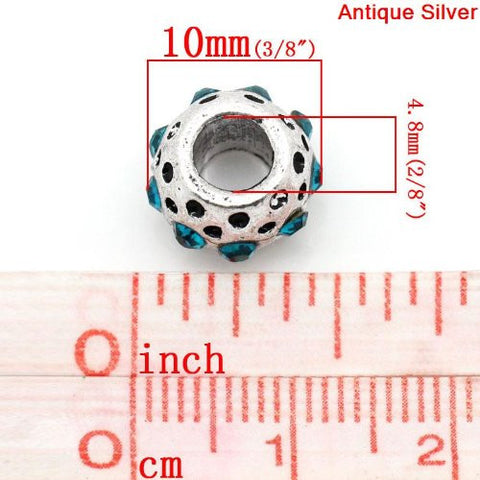 Aqua Rhinestone  Birthstone Charm European Bead Compatible for Most European Snake Chain Bracelets - Sexy Sparkles Fashion Jewelry - 3