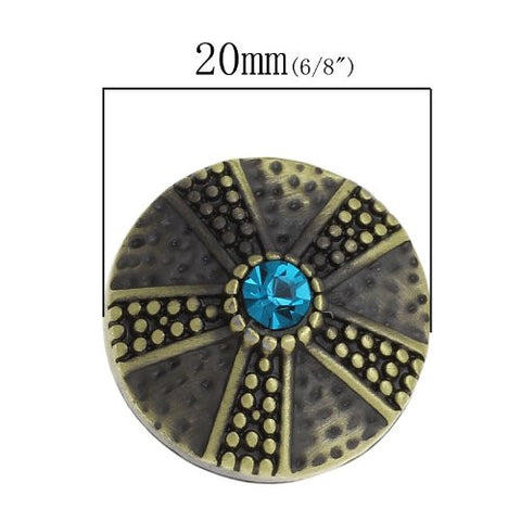 Chunk Snap Buttons Fit Chunk Bracelet Round Antique Bronze Flower Pattern Carved Lake Blue Rhinestone 20mm - Sexy Sparkles Fashion Jewelry - 3