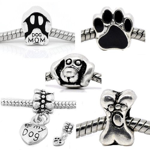 5 Dog Lovers Charm Beads For Snake Chain charm Bracelet