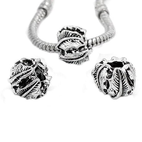 Leaf Carved European Bead Compatible for Most European Snake Chain Bracelet - Sexy Sparkles Fashion Jewelry - 3