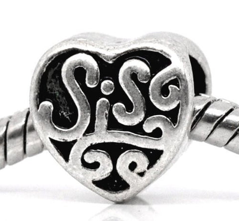 Sis or Sister Charm Spacer Beads For Snake Chain Charm Bracelet - Sexy Sparkles Fashion Jewelry - 3