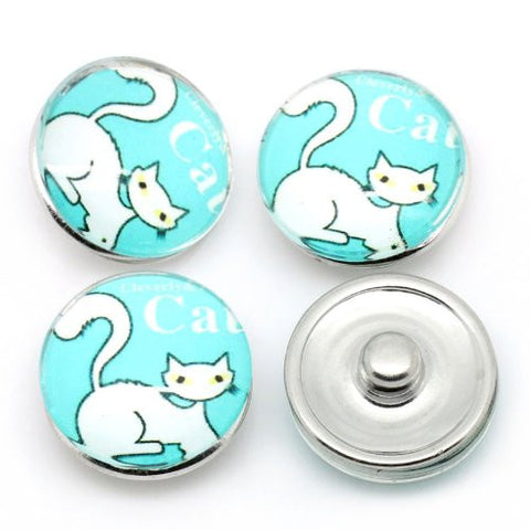 Siamese Cat Design Glass Chunk Charm Button Fits Chunk Bracelet - Sexy Sparkles Fashion Jewelry - 3