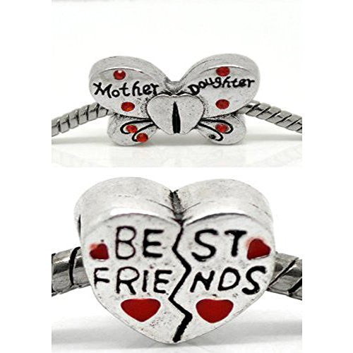 Best Friends Mother Daughter Charms Beads for Snake Chain Charm Bracelet - Sexy Sparkles Fashion Jewelry