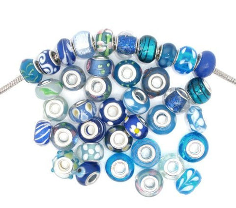 Bracelet + Ten Pack of Assorted Blue Glass Lampwork Murano Glass Beads - Sexy Sparkles Fashion Jewelry - 2