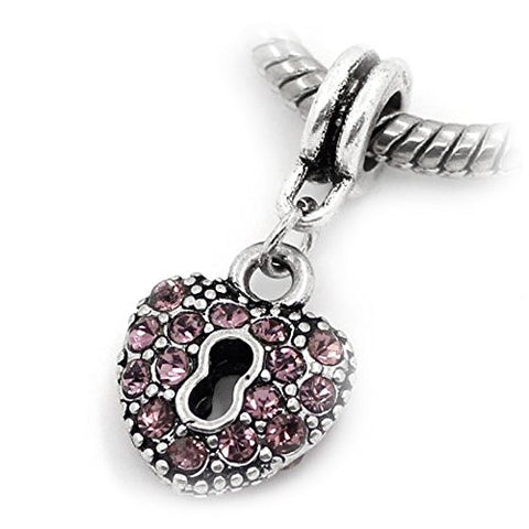Crystals Heart Lock Dangle Charm Bead For Snake Chain Bracelet - Sexy Sparkles Fashion Jewelry - 1