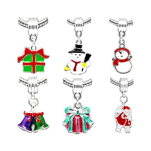 6 Christmas Charm Dangles Bead European Bead Compatible for Most European Snake Chain Charm Bracelet - Sexy Sparkles Fashion Jewelry