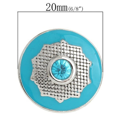 Chunk Snap Buttons Fit Chunk Bracelet Round Silver Tone Enamel Blue Polygon Pattern Carved Blue Rhinestone 20mm - Sexy Sparkles Fashion Jewelry - 3
